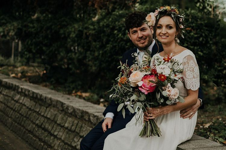Bright wedding bouquet for city celebration at Islington town hall wedding