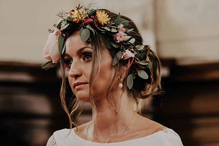 Bright flower crown for boho bride