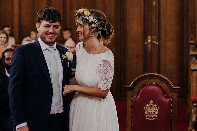 Bride in lace Luna Bride wedding dress at Islington town hall wedding