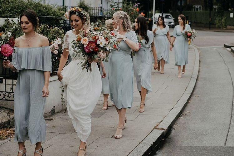 Blue mismatched bridesmaid dresses