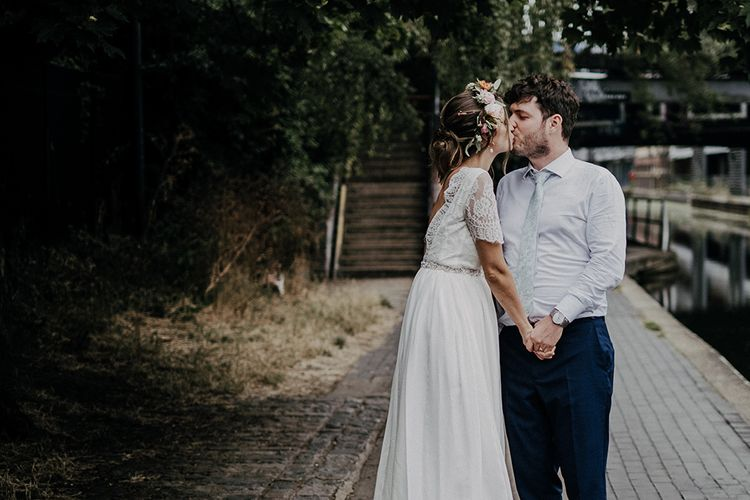 Bride and groom take a walk after Islington town hall wedding