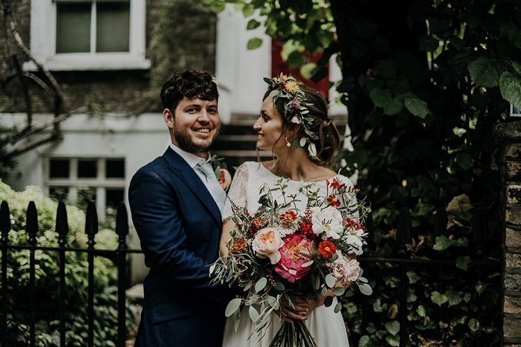 Bright florals and flower crown for city Islington town hall wedding