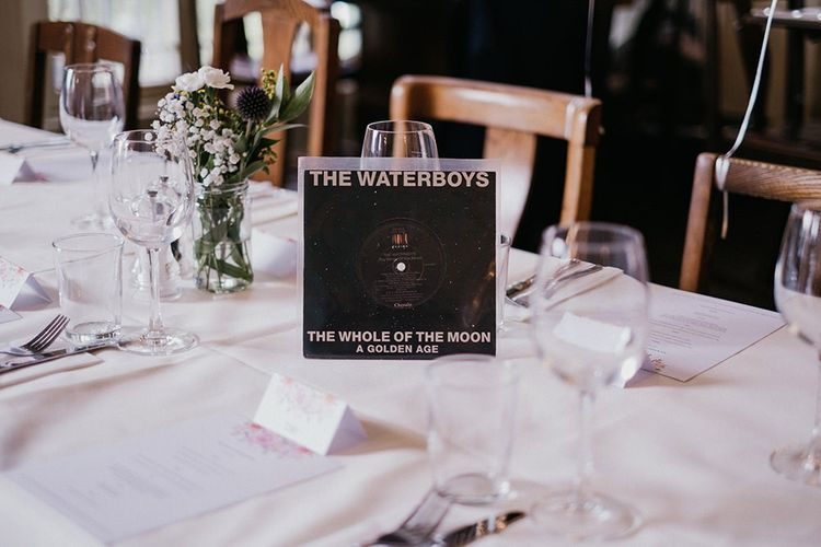 Wedding table names made from old vinyl records