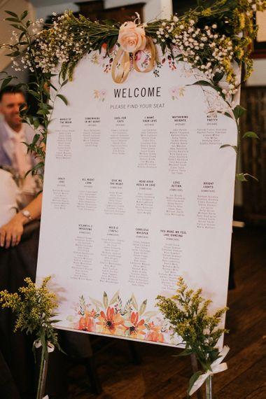 Wedding table seating plan for pub wedding reception