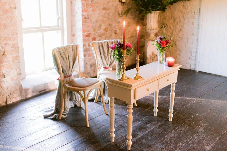Intimate Christmas wedding ceremony