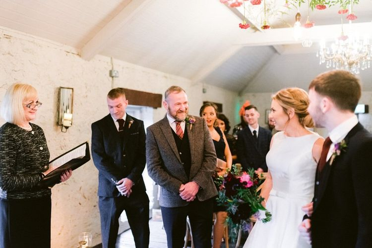 Bride and groom meet at ceremony