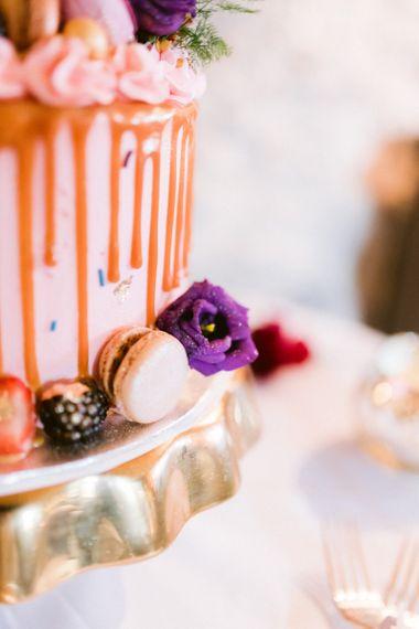 Wedding cake detail with macarons