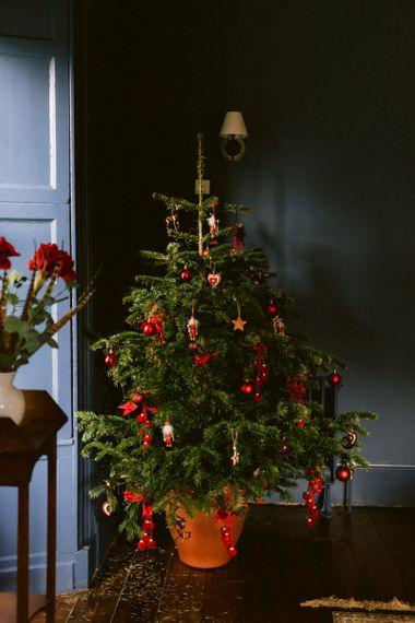 Christmas wedding with Christmas tree decor