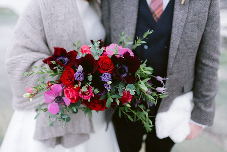 Jewell coloured wedding bouquet for Christmas wedding