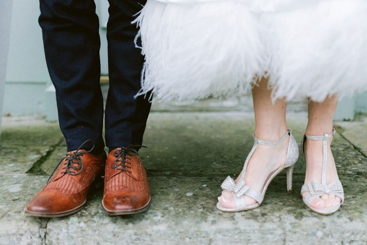 Bride wedding shoes with bow detail