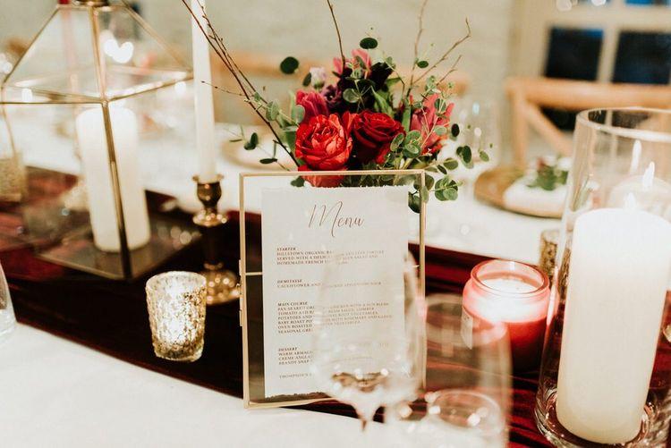Christmas wedding decor with candles