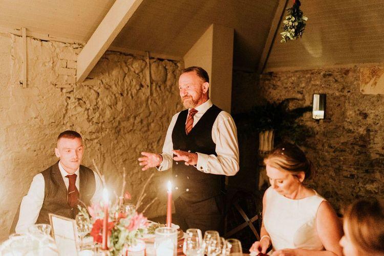 Groom makes wedding speech at Christmas wedding