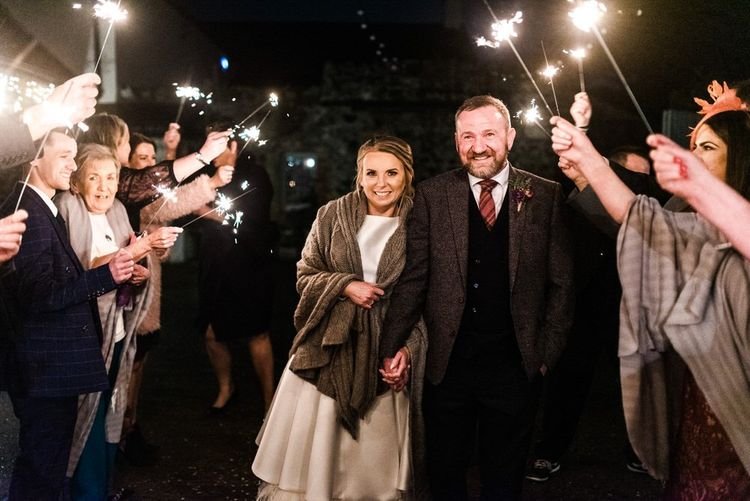 Sparkler exit for newlywed couple