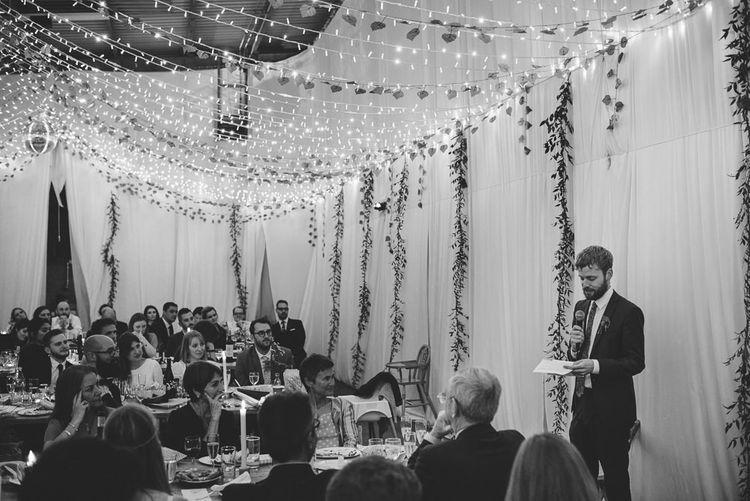 Wedding Reception Speeches with Fairy Light Wedding Decor