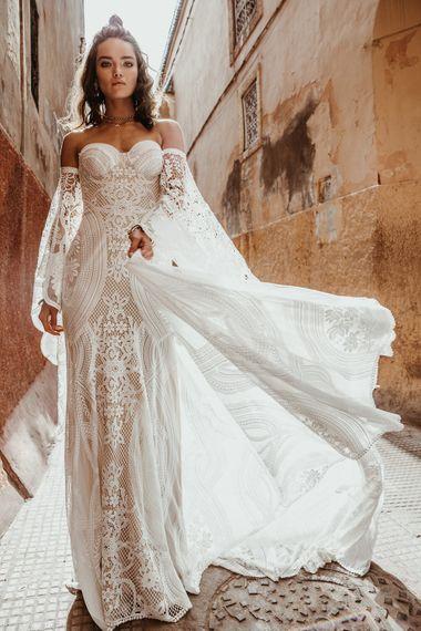 Adara Dress By Rue De Seine // The Wild Heart Collection From Rue De Seine // Stylish Bohemian Bridal Wear From Rue De Seine // Images By Madly Studio