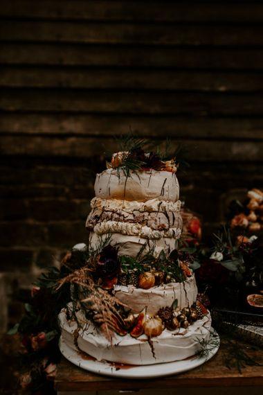 Layered meringue rustic wedding cake - rustic wedding cakes