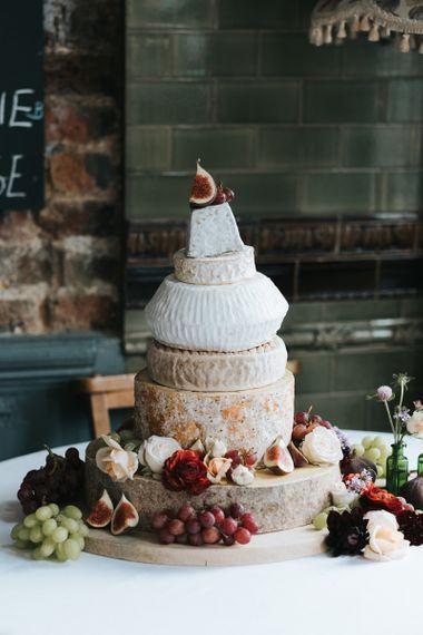 Layered cheese tower wedding cake