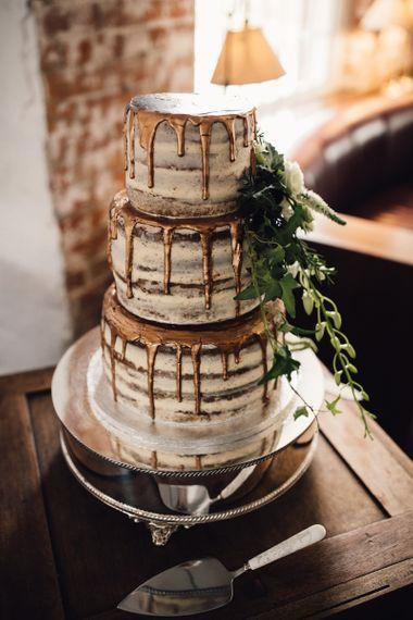 Semi naked bronze drip wedding cake - rustic wedding cakes
