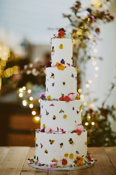 Edible flower rustic wedding cake