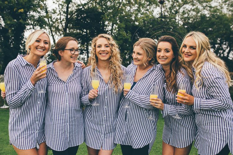 Bride and Bridesmaids in Striped Getting Ready Shirts | Nautical Wedding on SS Nomadic Boat in Belfast with Black Tie Dress Code | Sarah Gray Photography