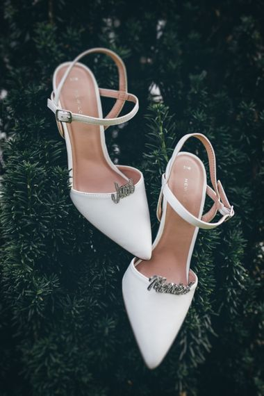 White Slingback Heels with Just Married Shoe Clips | Nautical Wedding on SS Nomadic Boat in Belfast with Black Tie Dress Code | Sarah Gray Photography