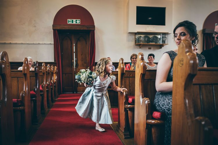 Flower Girl in Satin Mint Green Dress | Wedding Ceremony at Gilnahirk Presbyterian Church | Nautical Wedding on SS Nomadic Boat in Belfast with Black Tie Dress Code | Sarah Gray Photography