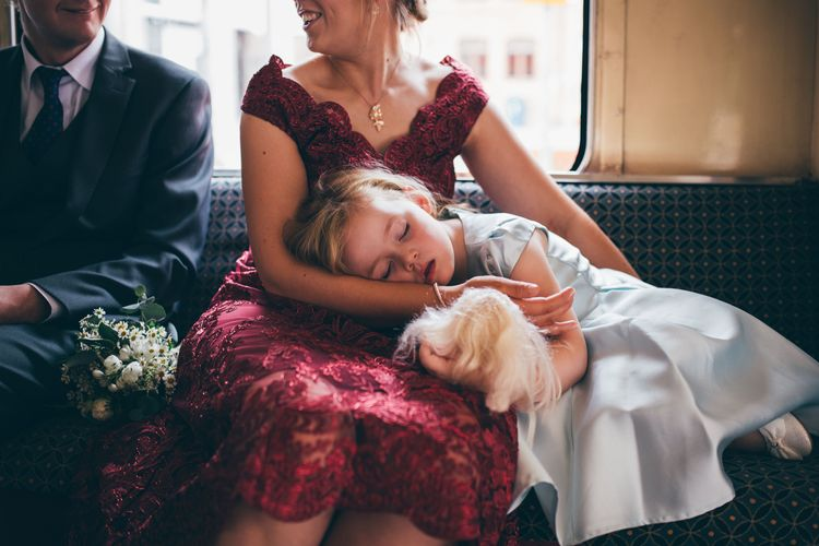 Flower Girl in Satin Mint Green Dress | Vintage Red Routemaster Bus for Wedding Party | Nautical Wedding on SS Nomadic Boat in Belfast with Black Tie Dress Code | Sarah Gray Photography