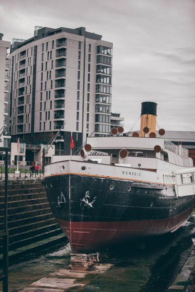 SS Nomadic in Hamilton Dock, Belfast | Nautical Wedding on SS Nomadic Boat in Belfast with Black Tie Dress Code | Sarah Gray Photography