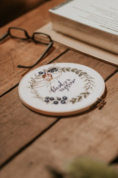 Embroidered hoop wedding ring cushion