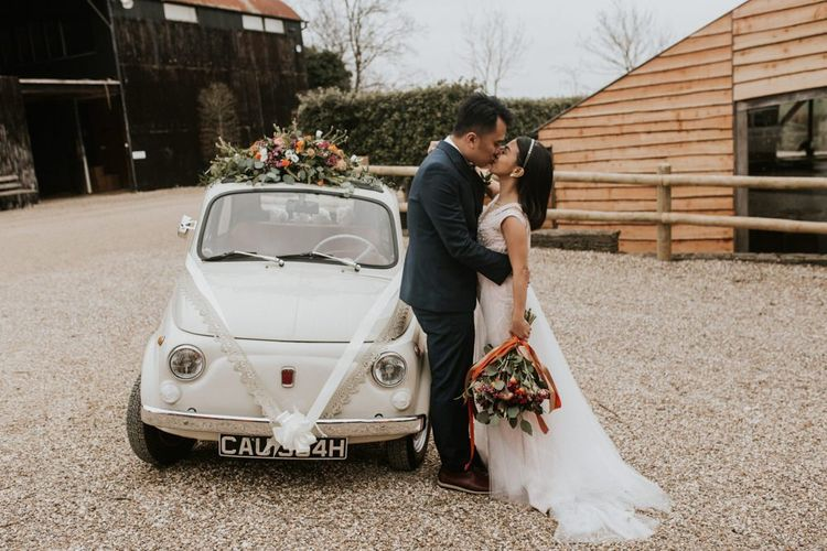 Fiat 500 car at Cripps Barn wedding