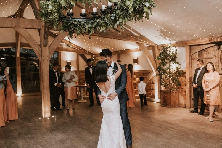 Bride and groom first dance at intimate Cripps Barn wedding