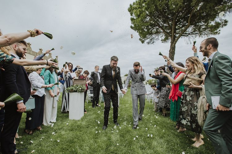 Confetti exit for groom and groom