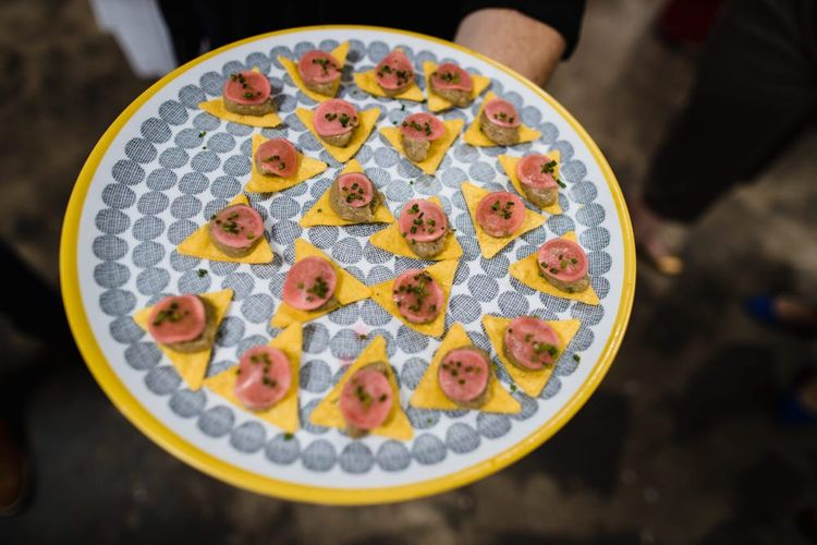 Canapés at casual and industrial wedding ceremony