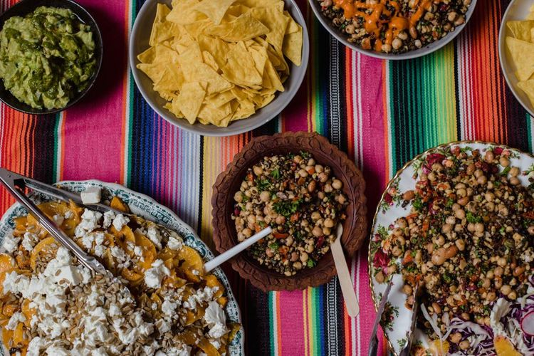 Mexican style wedding food at industrial event with casual styling and bright decor
