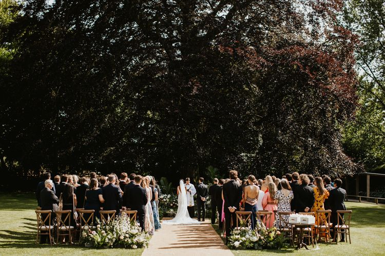 户外wedding ceremony at Babington House