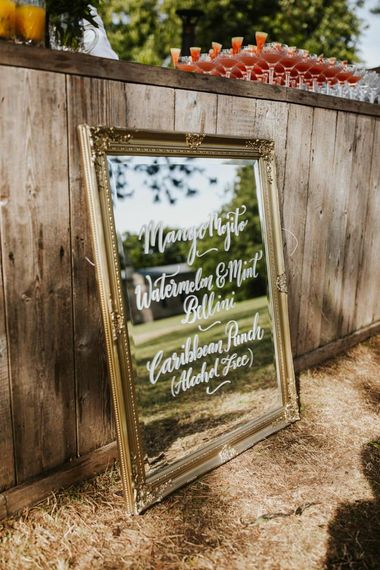Mirror wedding sign in gold ornate frame