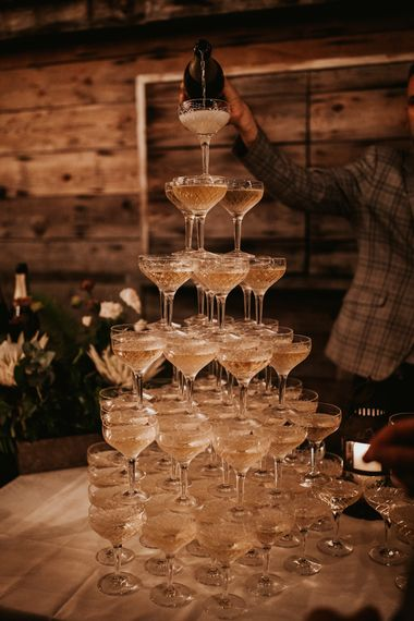 Champagne saucer in coupe glasses