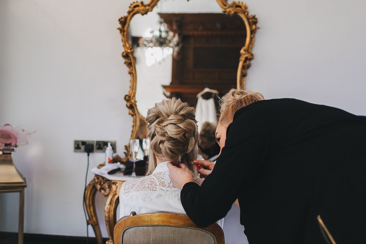 Elegant Pinned Bridal Updo