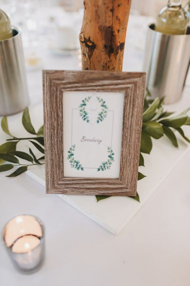Framed Table Names with Laurel Design