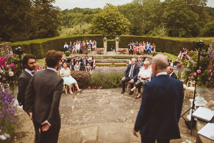 Outdoor wedding ceremony at Hedsor House