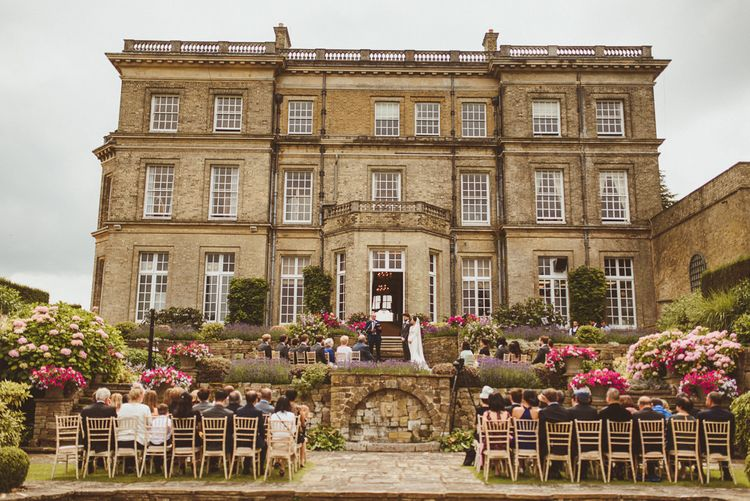 Outdoor wedding ceremony at Hedsor House in Buckinghamshire