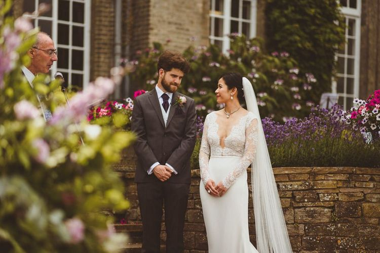 Bride and groom at Hedsor House outdoor wedding ceremony