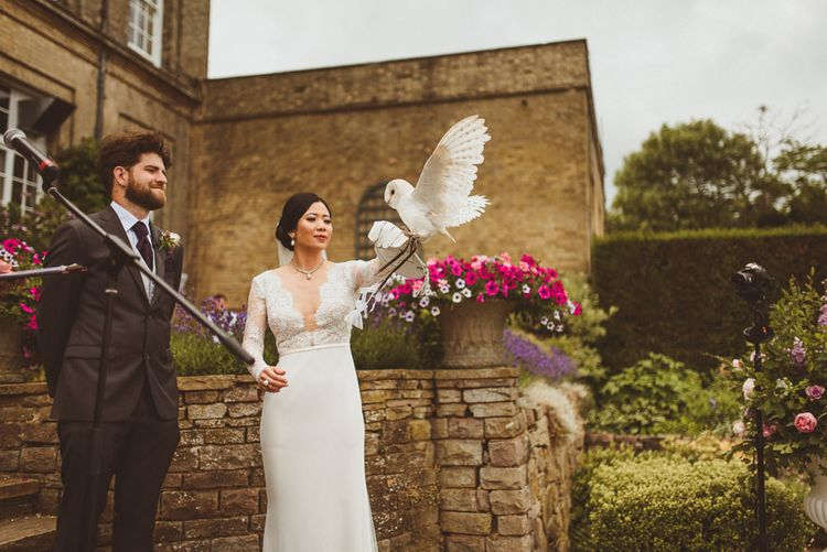 Barn owl at outdoor wedding ceremony