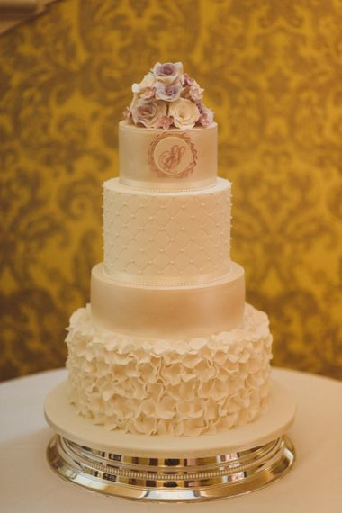 Elegant wedding cake with different iced layers
