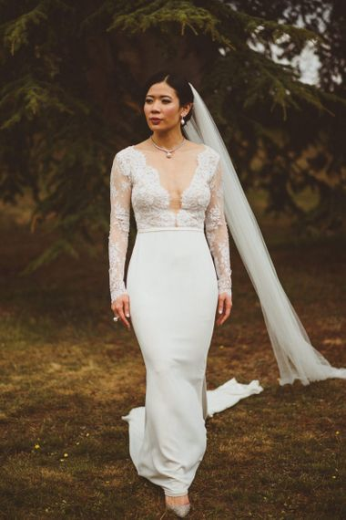 beautiful bride in Anna Georgina wedding dress with lace long sleeves