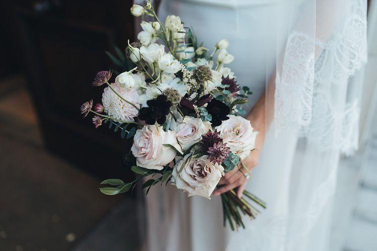 Dusky pink and burgundy wedding bouquet