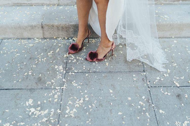 Bride velvet, sling back Pom Pom wedding shoes