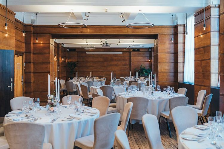 Relaxed and elegant wedding reception venue at East London autumn celebration