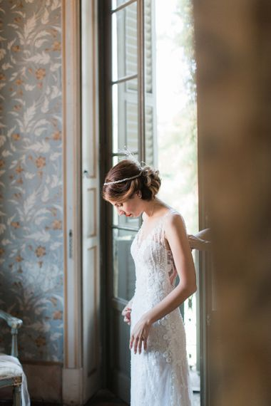 Beautiful Bride in Lace Atelier Eme Wedding Dress and Art Deco Headpiece
