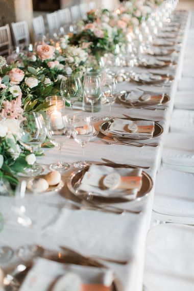 Elegant Place Settings with Floral Table Runner